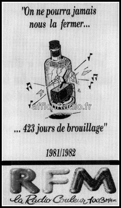 Affiche de RFM durant sa période de brouillage (Source : <a href='http://www.affichradio.fr' target='_blank' rel='noreferrer'>AffichRadio</a>)
